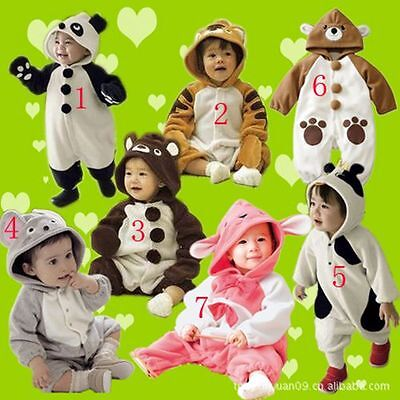 NWT Baby Boys Girls Fleece Animal Costume Romper One Piece Outfit Size 00,0,1,2