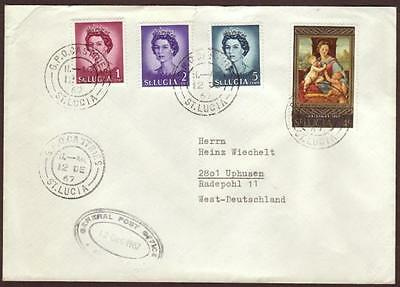 St.Lucia Cover to Germany 1967. Christmas