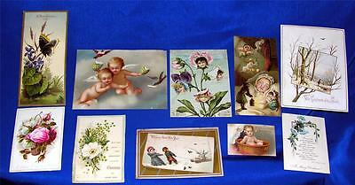 10 GORGEOUS VTG ANTIQUE 1880 LITHOGRAPH VICTORIAN XMAS GREETING CARDS, CRAFTS