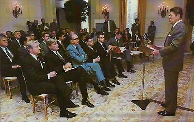 President Ronald Reagan addresses Senate Republicans, White House --- Postcard