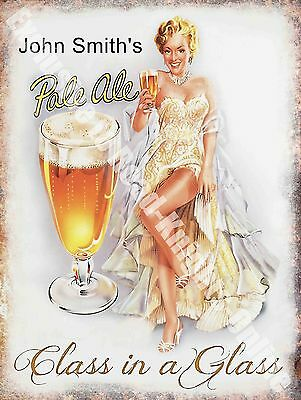 Vintage Drink John Smith's Pale Ale Girl Beer Bar Pub Cafe Small Metal Tin Sign