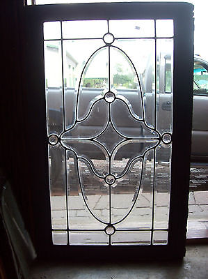 beveled glass window with 6 faceted jewels   (SG 1463)