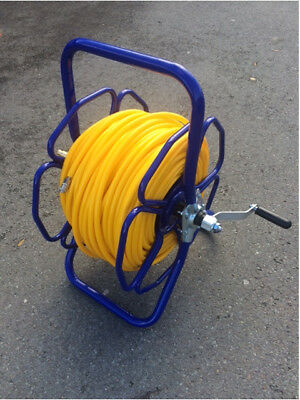 Metal Hose reel with 100m of 6mm MICROBORE hose & fittings WFP