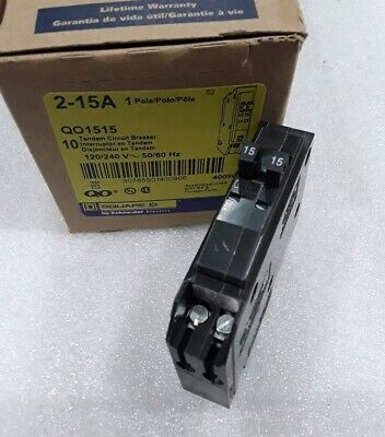 QO1515 Square D Tandem Circuit Breaker 2-15 Amp 1 Pole 120V (New)
