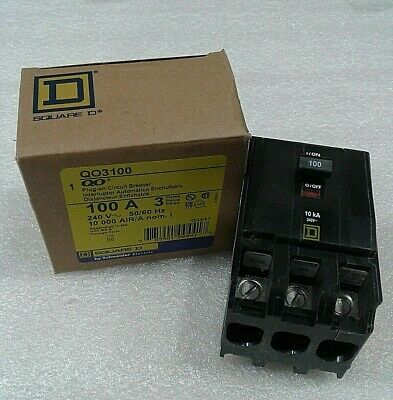 QO3100 Square D Plug-on Circuit Breaker 100 Amp 3 Pole 240V (New)