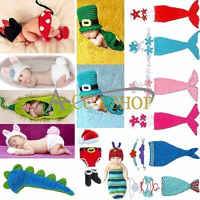 New Baby Boy Girls Crochet Animal Beanie Costume Outfit Set Hat Photo Prop 0-12M