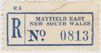 (RB65) 1950 NSW registration label Mayfield East no0813