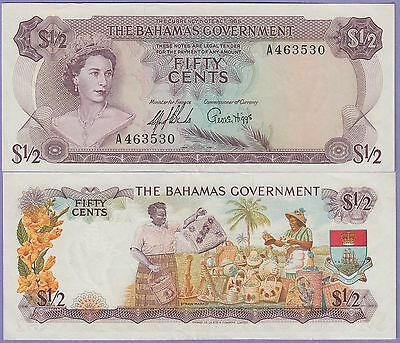 Bahamas Fifty Cents,1/2 Dollar Banknote 1965 AU/ChEF Condition Cat#17-A-3530