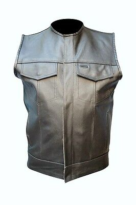 Mens Leather Club Style Biker Motorcycle Vest Brand New #449 New All Sizes