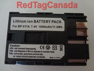 Battery for Canon BP-508 BP-511 BP-511A BP-512 BP-522 1600mAh - Canada