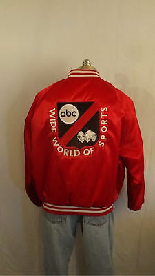 VTG ABC Wide World Of Sports Satin Jacket sz L Embroidered Patch/Logo Frito-Lay
