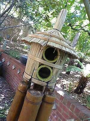 Lovely Large Bamboo Wind Chime With Bird House Round 2 Hole Rrp$29 W/sale Outlet