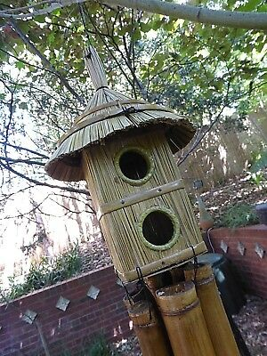 Lovely Large Bamboo Wind Chime With Bird House Square 2 Hole Rrp$29 W/sale Store