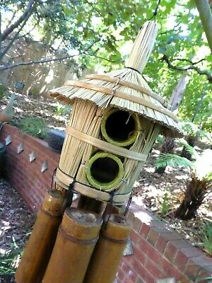 Funky Large Handmade Bamboo Garden Wind Chime With 1 Hole Square Bird House