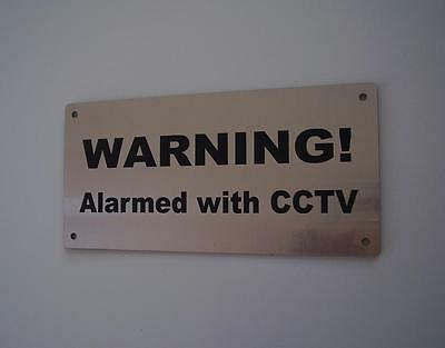"Silver Security Surveillance Sign- ""warning - Alarmed With Cctv""- Not Stainless"