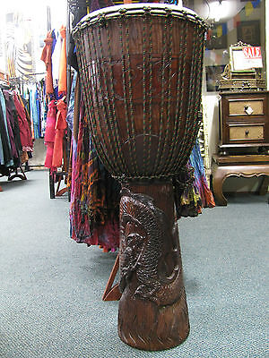 Beautiful Professional Huge 100 Cm High Mahogany Carved Bongo Drum Djembe