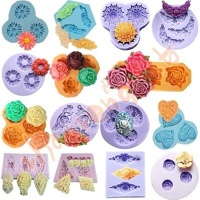 15Set Flower Silicone Mould for Polymer Clay Candy Cake Decorating Fondant Resin