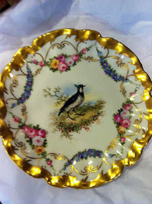 """ANTIQUE LIMOGES GAME PLATE RARE HAND PAINTED GOLD BLUES SIGNED QUAIL BIRD 10"""""""