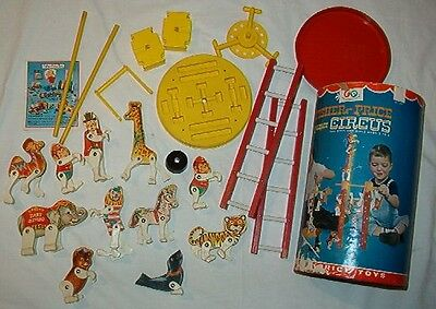 Vintage Fisher Price Complete Junior Circus Playset W/ Canister +