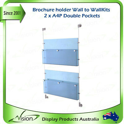 Brochure Holder A4 Double Pockets x 2, Acrylics with Wall to Wall Cable Kits