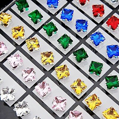 72pcs Mix Cubic zirconia Stainless Steel Square Stud Earrings Wholesale Jewelry