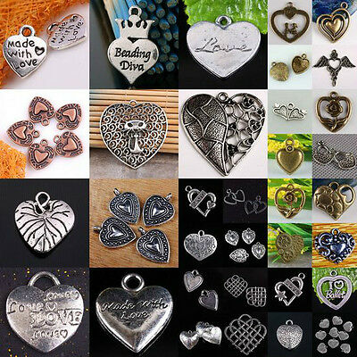 Wholesale Tibetan Silver Bronze Heart LOVE Beads Pendant Charms Jewelry Findings