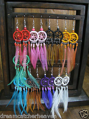 Dream Catcher Earrings Jewellery Hippy Colourful Beads Fish Hook