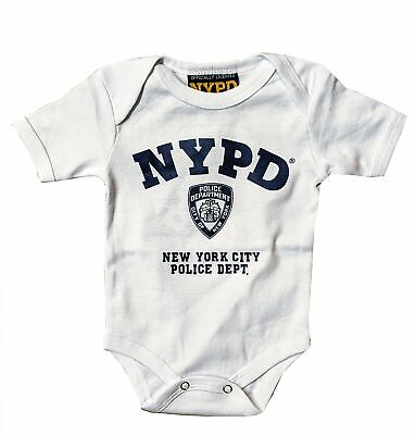 NYPD Baby Infant Screen Printed Bodysuit White & Blue Toddler Tee Police Gift