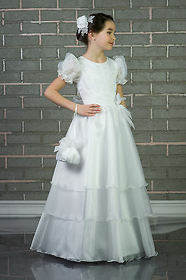 Wedding White / Ivory Flower Girl Bridesmaid Party Holy Communion Dress