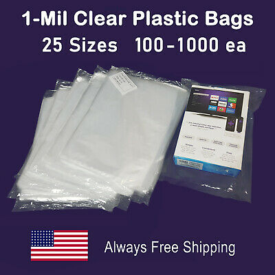 1-Mil Clear Poly Bags Large Small Plastic Baggies Open-Top Layflat PolyBags-Plus