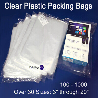 Multiple Sizes 1Mil Clear Lay-flat Poly Bags Open Top Plastic Packing Baggies