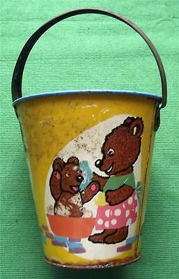 c1950  Tinplate Seaside Sand Pail Bucket with Teddies & Rabbits