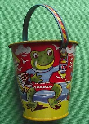 c1950  Tinplate Seaside Sand Pail Bucket Chad Valley Ducks Frogs Teddy Rabbit