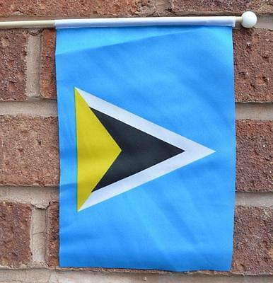 "St Lucia Hand Waving Flag 9""x6"" With Pole Caribbean West Indies Flags"
