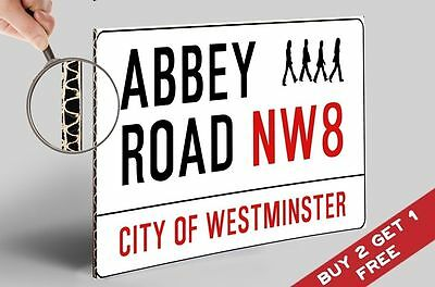 ABBEY ROAD Street Sign POSTER * A4  Beatles London UK Retro Conservatory Decor