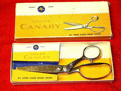 "Yellow Canary Vintage High Quality 8"" Pinking Shears Boxed Dressmaking Scissors"