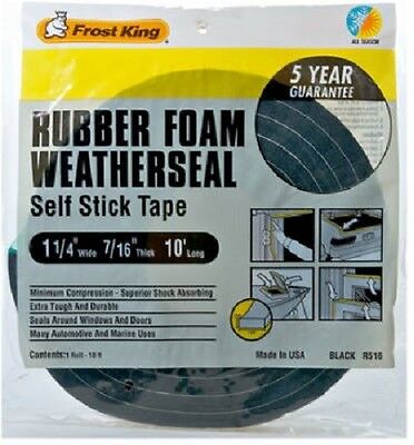 "Thermwell 1.25"" x 7/16"", 10' High Density, Black Foam Weather-Strip Tape  2 Pack"