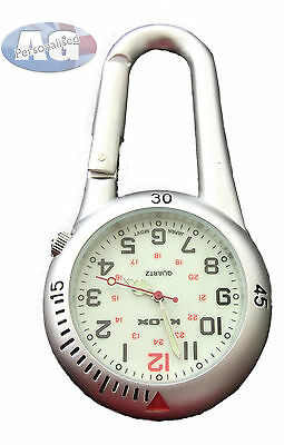 Clip on Silver Carabiner Sprung Paramedic Doctors Nurses Sport Style Fob Watch