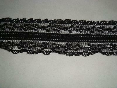 20 yards of black edge stretch Narrow  lace trim 1//2/'/'w S1-9 US SHIPPER