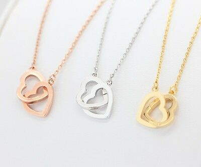 Double Heart Necklace N042 / gold silver rose gold pink interlocking love