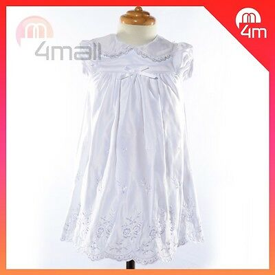 Babys Girls Kids Christening Gown Dress Wedding Formal Full Evening Party Sz