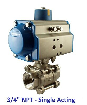 """Pneumatic Air Actuated Stainless Ball Valve 1"""" Inch Single Acting Spring Return"""