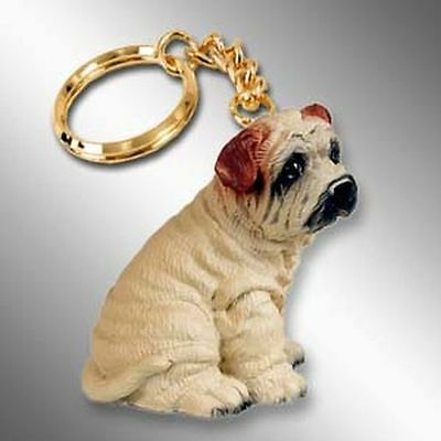 SHAR PEI Cream Dog Tiny One Resin Keychain Key Chain Ring
