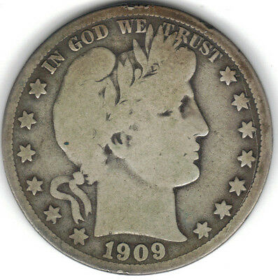 TMM* 1909 Uncertified Silver Barber Half  Dollar VG