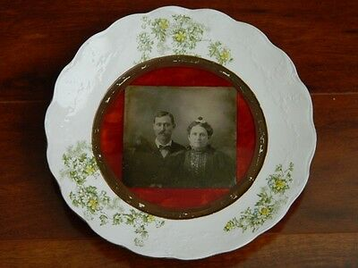 Antique Vtg Folk Art Arts & Crafts Pottery Plate w/ Real Photo ELP Co Narcissus