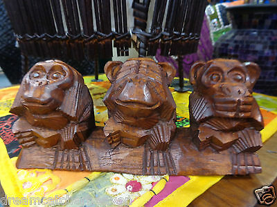 Beautiful Hand Carved Timber Hardwood 3 Wise Monkey Ornament Statue
