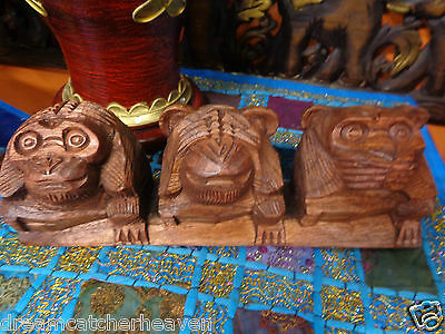 Beautiful Hand Carved 3 Wise Monkey Ornament Statue Rrp $34.99 W/sale Store