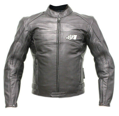 Genuine Buffalo leather and CE approved armor Motorcycle Jacket, Black, NEW