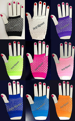One Pair Fishnet Gloves Neon Wrist-Length Finger-Less 70S 80S Punk Dance Party