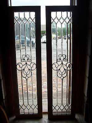 Pair of Beveled glass sidelites curvy center feature (SG 1469)